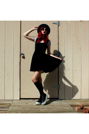 black skater DIY dress - black fedora Goodwill hat