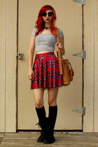 red tartan skirt - black combat boots Banana Bay boots