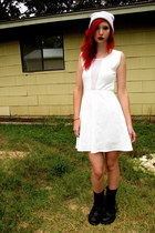 white skater kirra dress - black combat boots Banana Bay boots