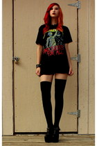 black frayed Bullhead shorts - black thigh high American Apparel socks
