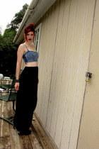 black spiked Charlotte Russe boots - black maxi DIY skirt - blue denim kirra bra