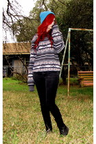 charcoal gray tribal on the byas sweater - black combat boots Banana Bay boots