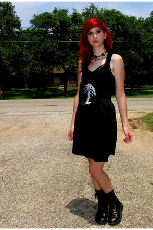 black combat boots boots - black tank top Mossimo top - black knit DIY skirt