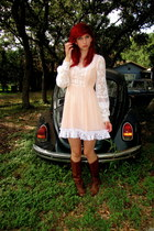 brown vintage boots - peach vintage dress dress
