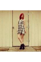 heather gray plaid gypsy warrior dress - black platform Charlotte Russe heels