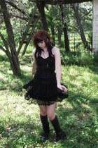 combat boots - skirt - corset top