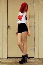 white cropped shirt - black platform shorts