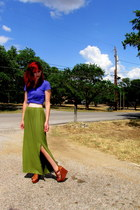 olive green maxi skirt DIY skirt - purple v-neck Nollie t-shirt