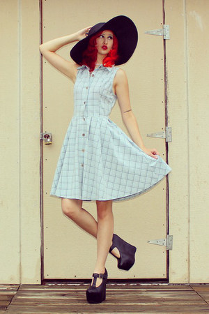 black floppy hat Mossimo hat - light blue button up modcloth dress