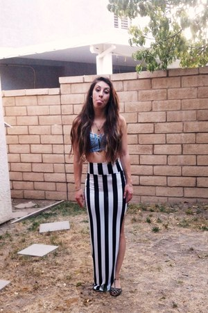 spandex seek vintage skirt - denim asos bra - Charlotte Ruse flats