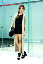 textured sheer Topshop dress - Nina Ricci bag - long gold Forever 21 cardigan