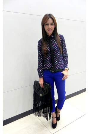 Forever 21 bag - electric blue hongkong pants - WHITE CALF blouse