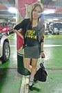 Black-studded-hip-stop-blazer-chain-zara-bag-striped-cotton-on-skirt-black