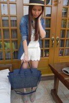 H&M hat - WHITE CALF bag - cage Zara wedges - chambray Pacific Sun blouse - lace