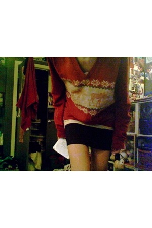 thrifted sweater - f21 blouse - hm skirt - Target shoes