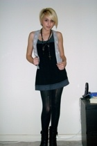 hollister vest - Lux dress - Target tights - Guess boots