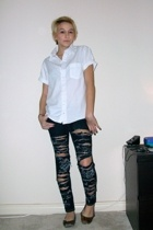 vintage blouse - DIY jeans - Linea Paolo shoes