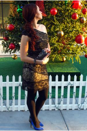 black black lace Bebe dress - dark gray sequins Expres purse