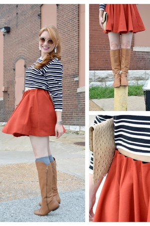 burnt orange ruffle pitaya skirt - light brown leather Diba True boots