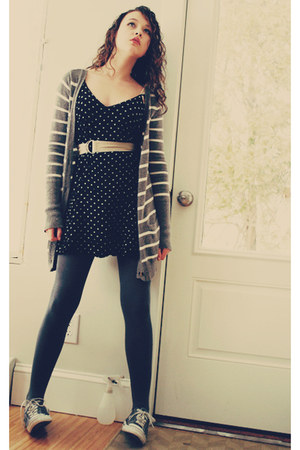 heather gray one-star Converse sneakers - black polka-dotted vintage dress