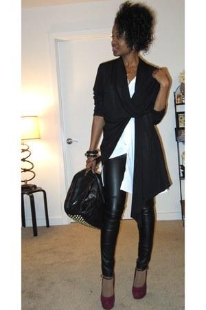 f21 pants - black wrap scarf cardigan - maroon Steve Madden pumps