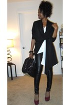 f21 pants - black wrap scarf cardigan - maroon Steve Madden pumps