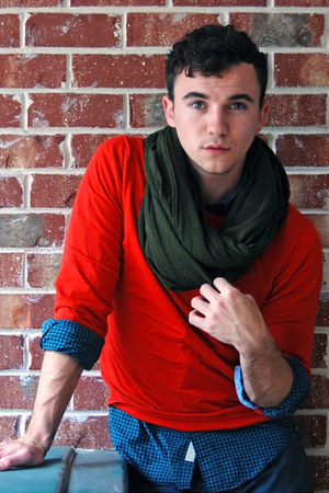 army green circle scarf American Apparel scarf - red rugged Jack Spade sweater