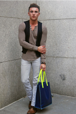 navy neon brooklyn industries bag - brown Apt 9 boots - ivory Uniqlo jeans
