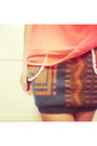 Ethnic-knitting-skirt-neon-orange-net-vest