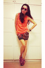 Neon-orange-net-vest-ethnic-knitting-skirt