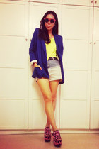 ombre shorts shorts - neon platforms shoes - blue blazer blazer - t-shirt