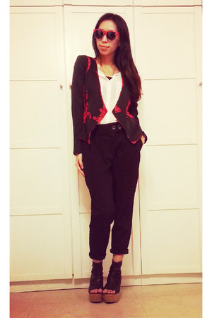 black blazer - white chiffon shirt - black tailor pants