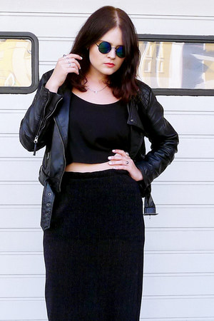 black TUK shoes - black H&M jacket - black Ebay sunglasses - black Monki skirt