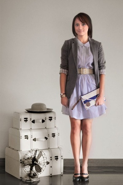 heather gray Zara blazer - periwinkle Oh My Godot Vintage dress