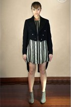 black Lisa Ho dress - silver Zara shoes - black Hodges and Sons Sine 1860 jacket