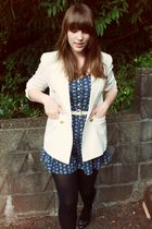 white vintage blazer - blue vintage jumper - white thrifted belt - black thrifte