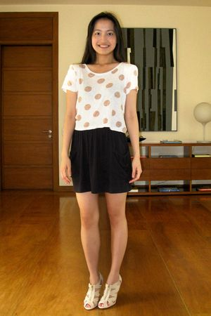white Topshop top - black No Boundaries skirt - beige H&M shoes