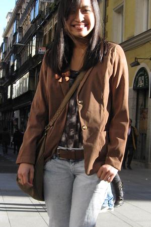 brown thrifted from the Philippines blazer - brown Zara Man belt - brown Zara pu