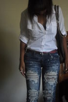 white Forever 2 crossroads shirt - blue love couture jeans - red Forever 21 belt