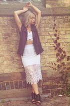 white leather vest - white bralette Nasty Gal top - white lace skirt