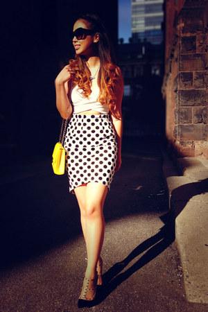 white Yesstyle skirt - ivory bralette Nasty Gal top