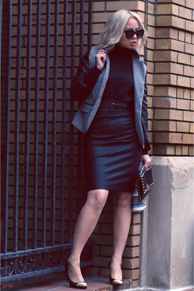 black studded toe Michael Kors shoes - gray leather sleeve asos blazer