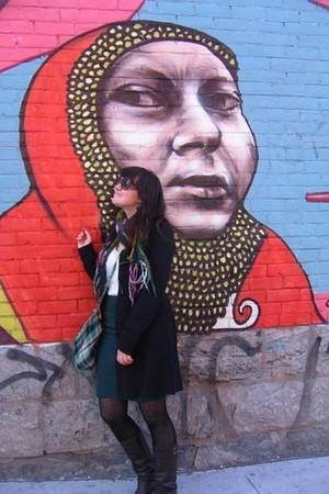 Urban Outfitters jacket - Kimichi and Blue blouse - American Apparel skirt - tig