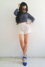 High-waisted-random-from-hong-kong-shorts-suede-random-from-hong-kong-wedges