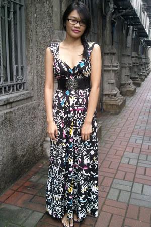maxi random brand dress - random brand belt - Melissa flats - Forever21 earrings