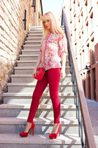 red Bershka shirt - brick red Bershka shoes - ruby red Zara jeans