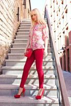 red Bershka shirt - brick red Bershka shoes - ruby red Zara jeans