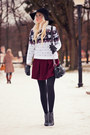 Black-beste-shop-hat-white-dressve-sweater-brick-red-dressve-skirt