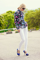 blue Stradivarius shirt - blue Zara shoes - white Mango jeans