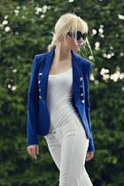 blue Vila blazer - white Mango jeans - black Boohoo sunglasses